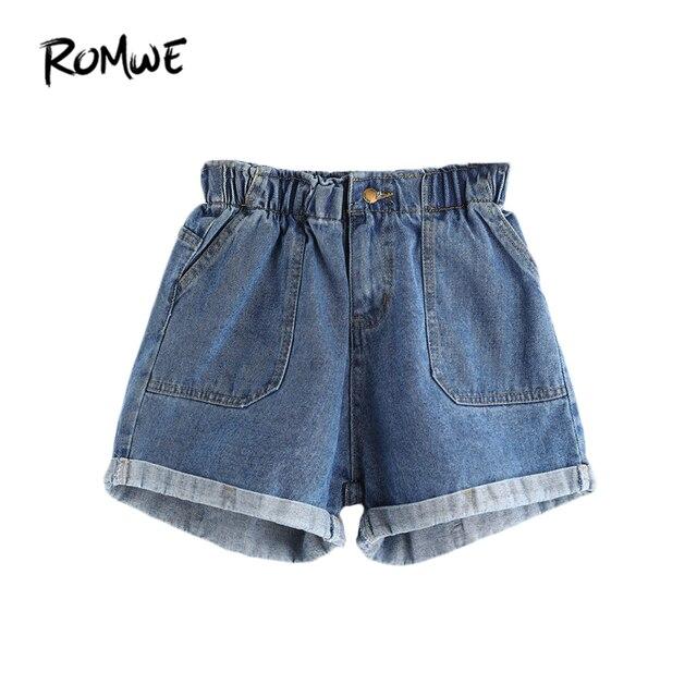1f972afe45 ROMWE Women Elastic Waist Shorts Summer Shorts Women Blue Mid Waist Rolled  Hem With Pockets Casual Denim Shorts