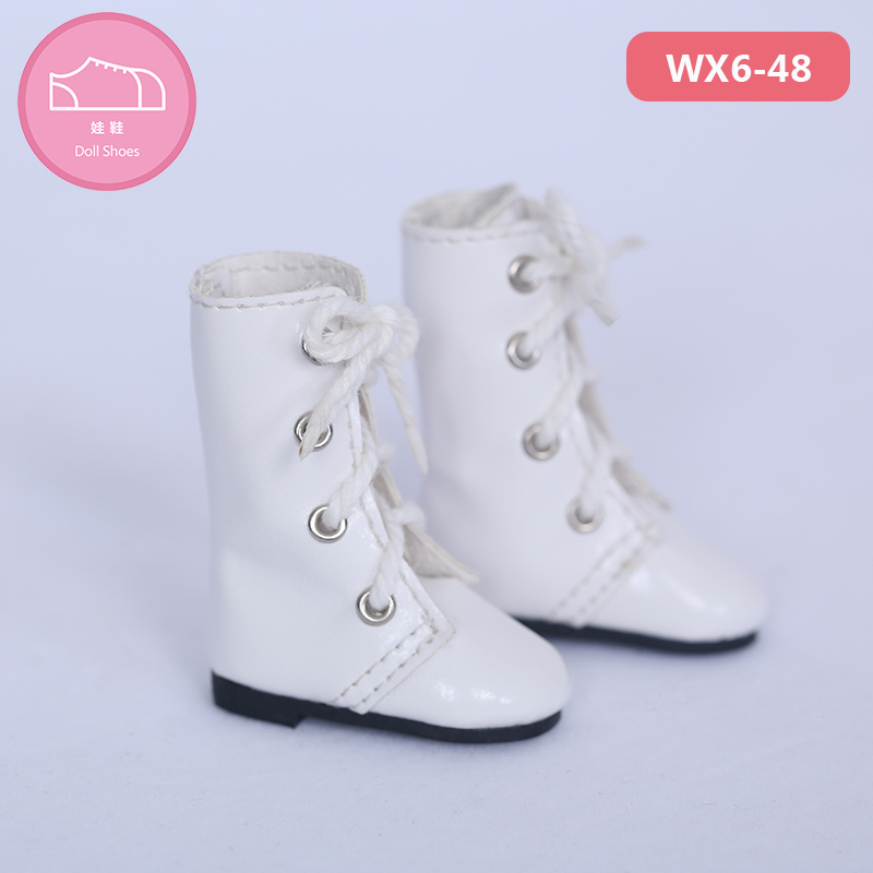 Free Shipping BJD Shoes 1/6 White High Casual PU Lace Boots For Yosd BJD Dolls WX6-48 Length 4cm Width 1.8cm Doll Accessories