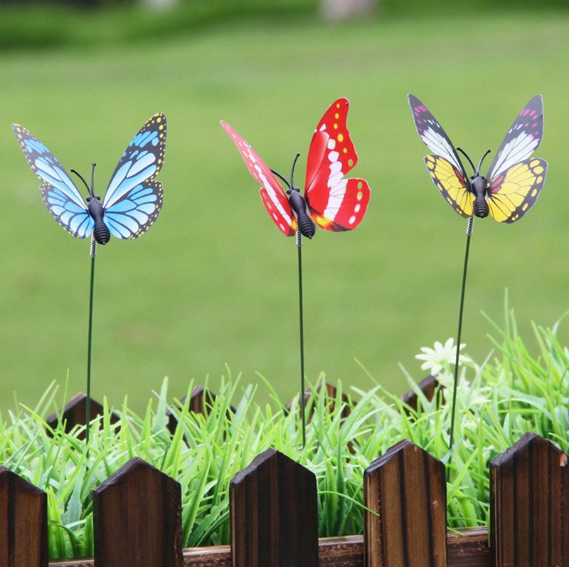 50Pcs 7CM Colorful 3D Single Layer Butterfly On Sticks Home Yard Lawn Flowerpot Plant Decoration Garden Ornament DIY Lawn Craft 1