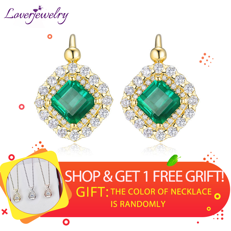 Vintage Earrings 2019 Fine Jewelry Real 18Kt/AU750 Yellow Gold Diamond Green Emerald Wedding Earrings for Women Party Love Gift