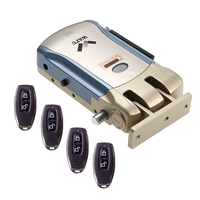 Wireless Remote Control Electronic Door Lock Invisible Keyless Entry Door Lock With 4 Remote Controllers Security