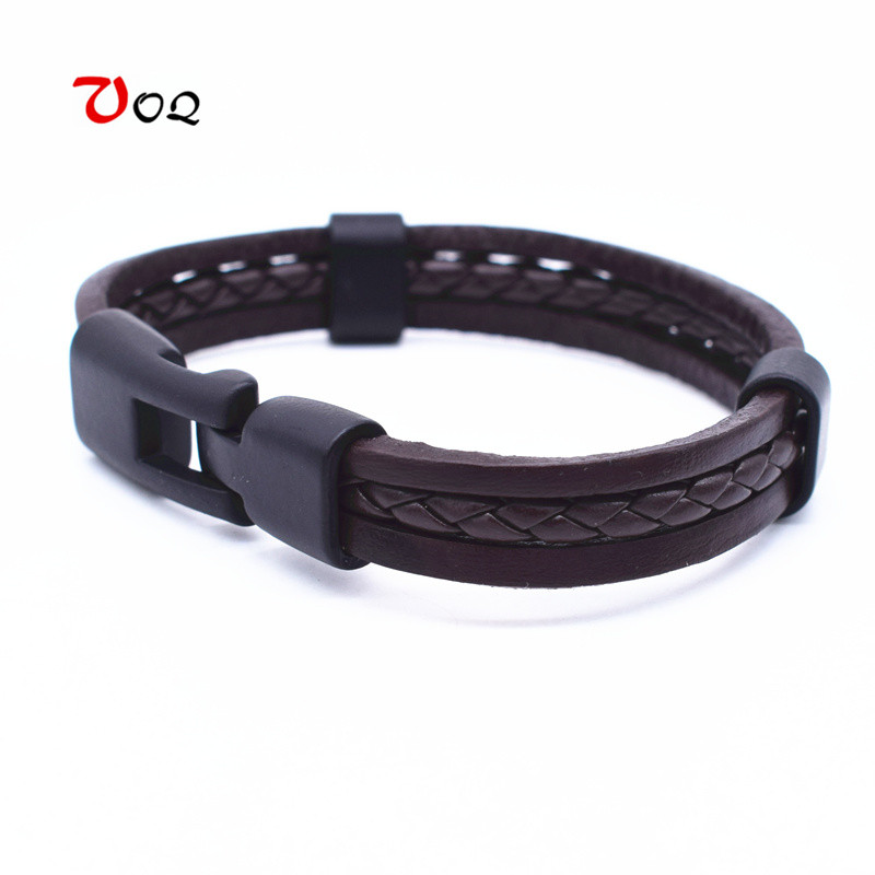 VOQ High Quality Sporty Style Surfing Rope Genuine Leather Bracelet Bangle Black Buckle Bracelet Men Jewelry