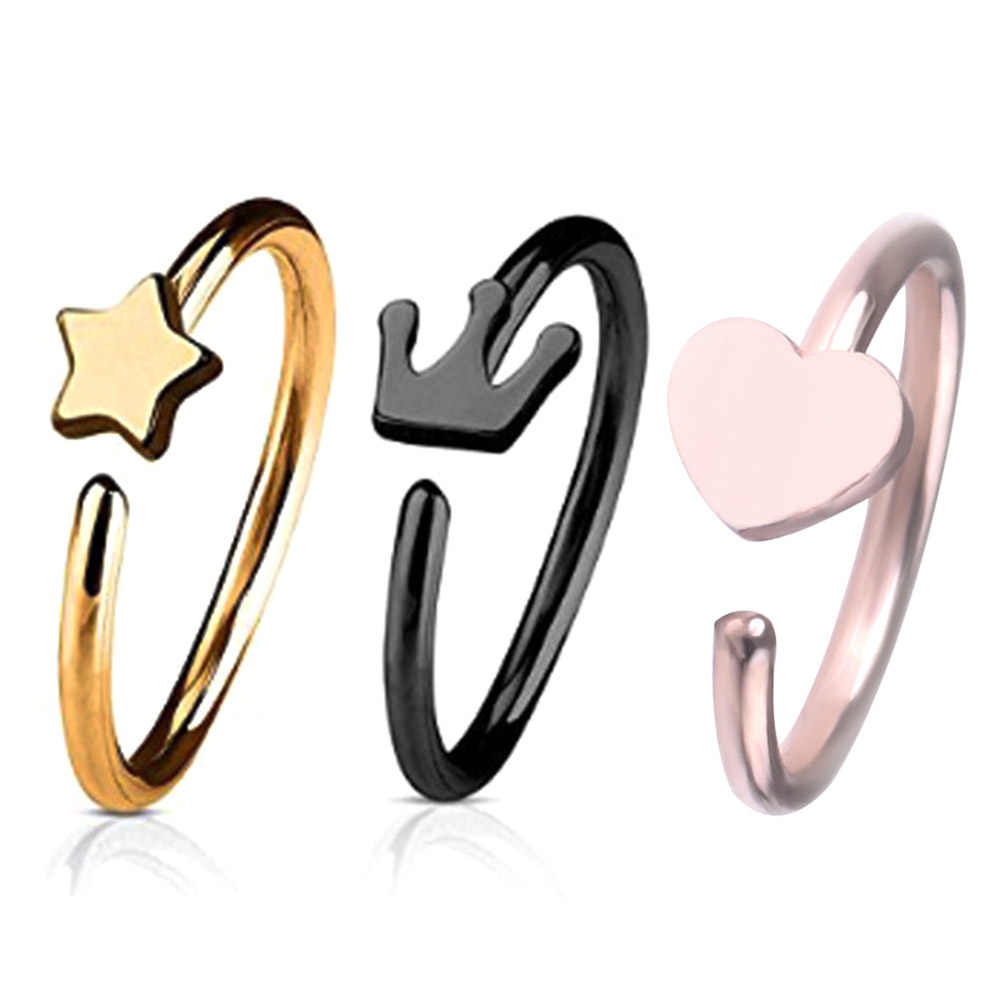 Stainless Steel Star Crown Heart Nose Hoop Ring  Punk Style Body Piercing Jewelry Accessories Medical Allergy Free Nose Rings