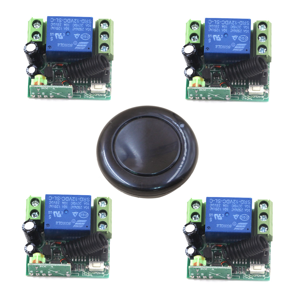Free Shipping DC 12V 1CH Wireless Remote Control Relay Switch 1 Round Transmitter + 4 Receiver On/Off Adapter 315/433mhz  цена и фото
