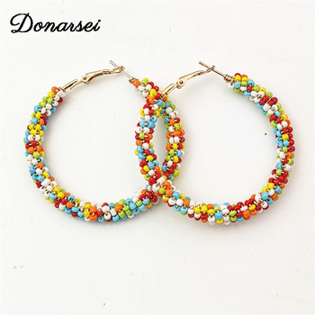 Donarsei 2019 New Fashion Colorful Handmade Beaded Earrings For Women Bohemian Red Big Circle Hoop Earrings.jpg 350x350 - Donarsei 2019 New Fashion Colorful Handmade Beaded Earrings For Women Bohemian Red Big Circle Hoop Earrings Ethnic Jewelry