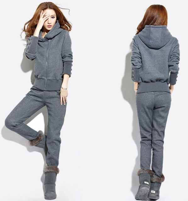 Winter Hoody Suit Women Sportswear Costume   Hoodie Pants   TrackSuits Women  Fleece Thick Clothing Set 3836b9cacde