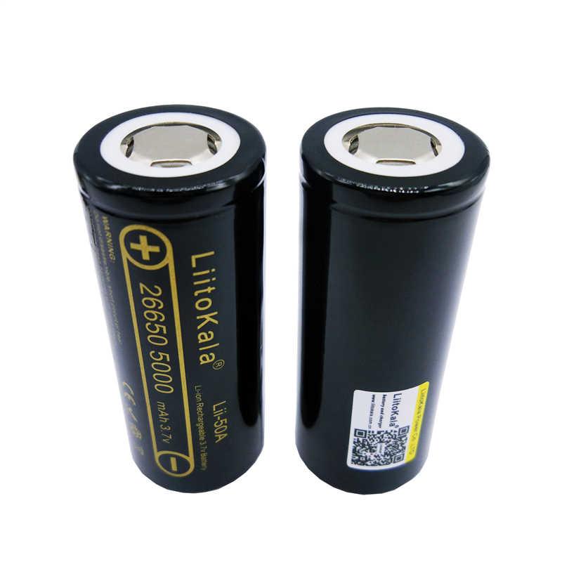 Liitokala 100% оригинал Lii-50A 5000 мАч перезаряжаемая литиевая батарея 26650 INR26650 20A фонарик/Мощный микрофон факел