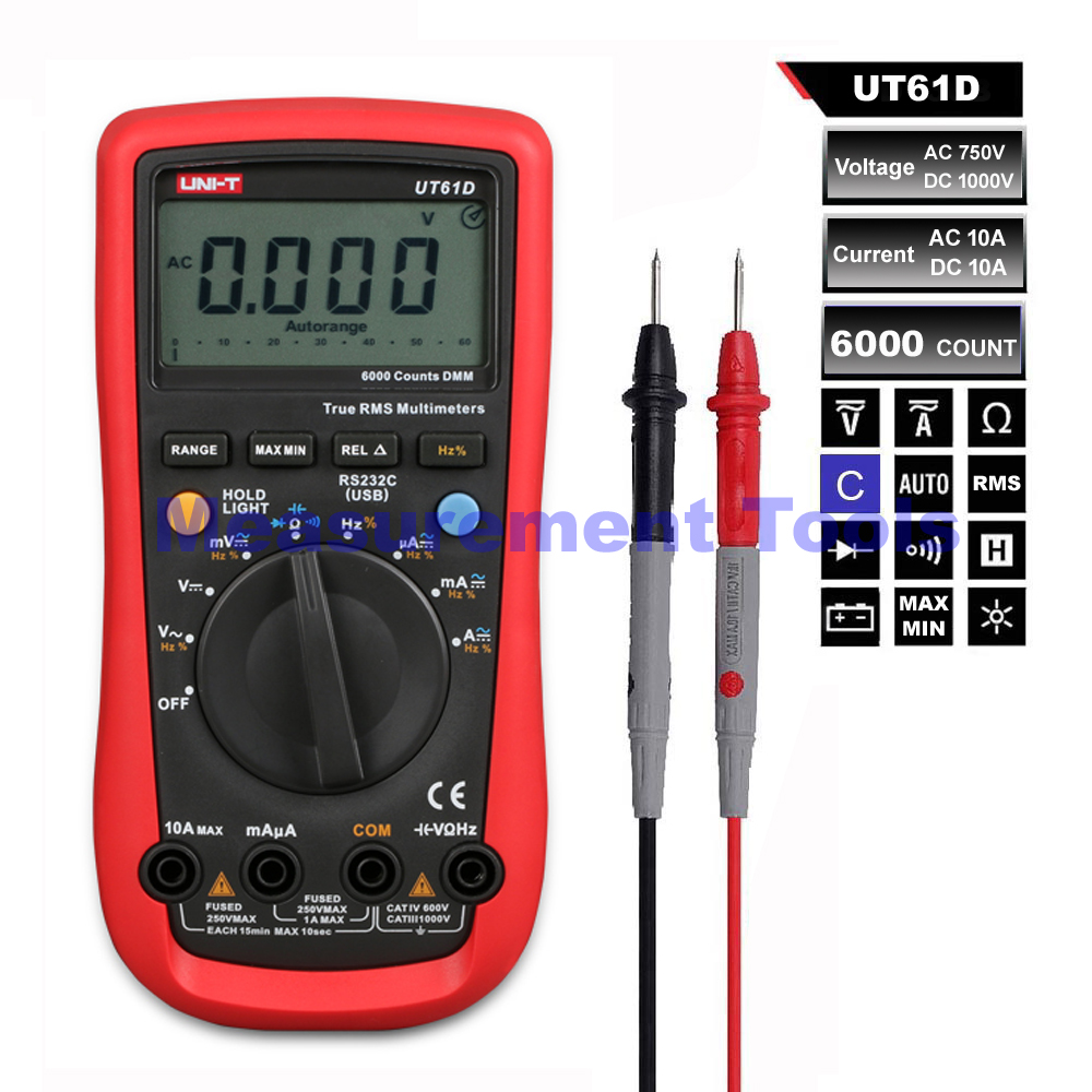 M130 UNI-T UT61D Digital Multimeter Auto Range True RMS DMM AC/DC Voltage Current Ohm Resistance Frequency 100% original fluke 15b f15b auto range digital multimeter meter dmm