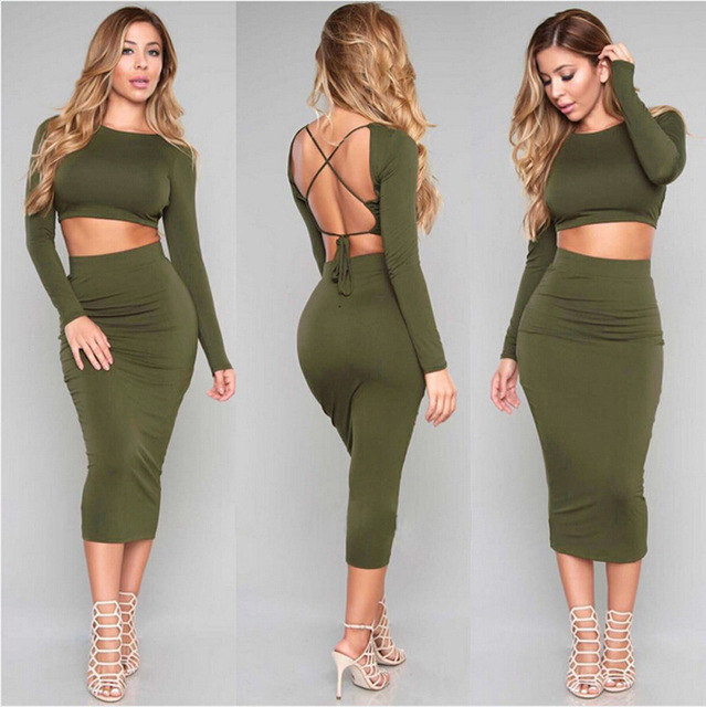b95dffbc8e 2 pcs Sexy Crop Tops And Skirts Women's Sets Green Full Sleeve Backless  Crisscross Bandage Sexy Club Midi Bodycon Party Dresses