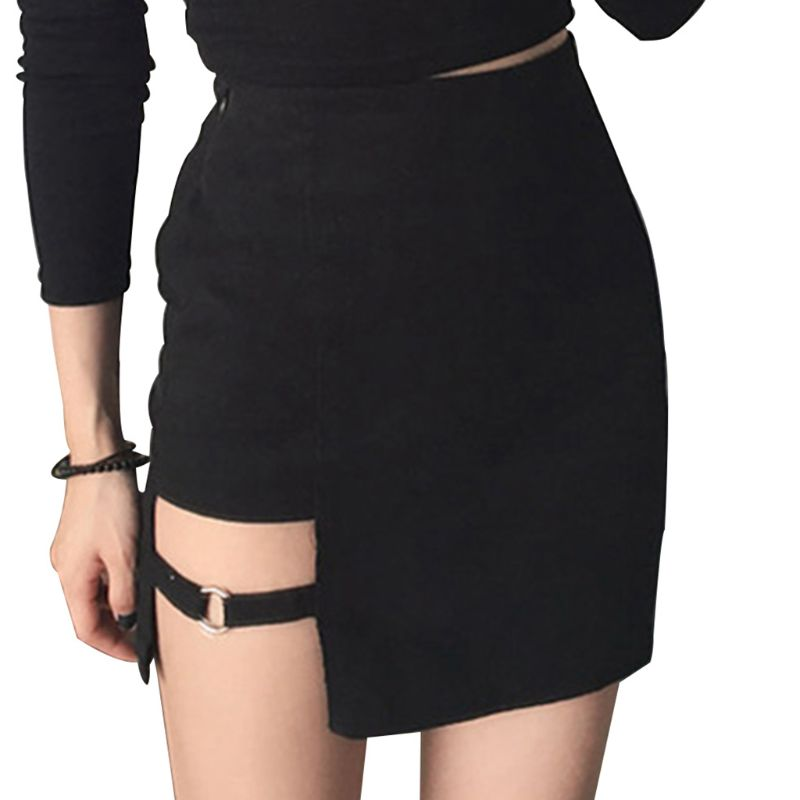 Womens Summer Cotton Sexy Mini Pencil Skirt High Waisted Hollow Out Asymmetric Solid Color Metal Ring Decor Package Hip Cocktail