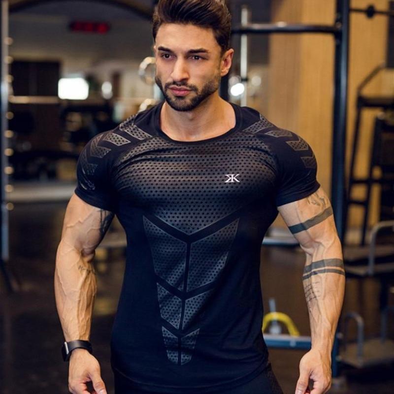 ca0928d2 2019 GYM Sport Running Men T shirt Tops Men Tee Fitness Slim High  Elasticity Breathable