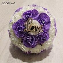 HCWBridal Lavender Ivory Roses Bridal Bouquets 2018 Gold