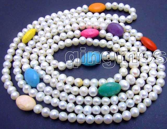 Красивая! Длинная 60 дюймов естественная белый жемчуг и многоцветный 12 мм овальная бирюза Necklace-nec5752