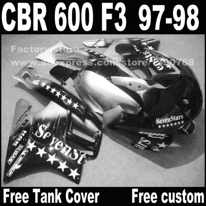 Custom free Motorcycle parts for HONDA CBR 600 F3 fairings 1997 1998 CBR600 F3 97 98 sliver SevenStars fairing kit + 7 gifts motorcycle parts for honda cbr 600 f3 fairings 1997 1998 cbr600 f3 97 98 black silver seven star fairing kit d6