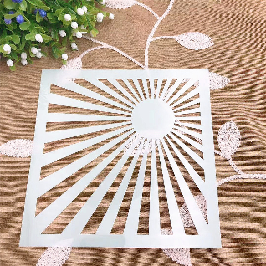 Rays Of Light Scrapbook Stencils Spray Plastic Mold Shield DIY Cake Hollow Embellishment Printing Lace Ruler Valentine