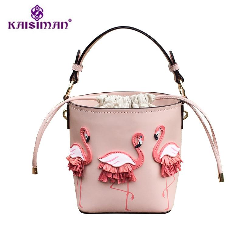 Thailand Tide Brand Original Design Fairy Bag Women Handbag Pink Bucket Tote Bag Flamingo Pattern Shoulder Bags Luxury Brand Sac