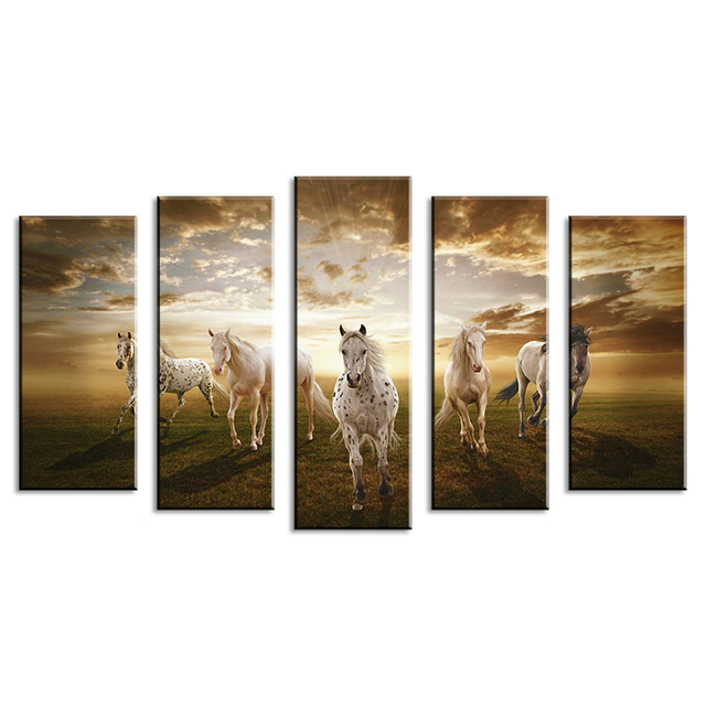 5 Piece Wall Paintings Home Decorative Modern Horse Art Combination Paintings For Home Creative Idea Decor