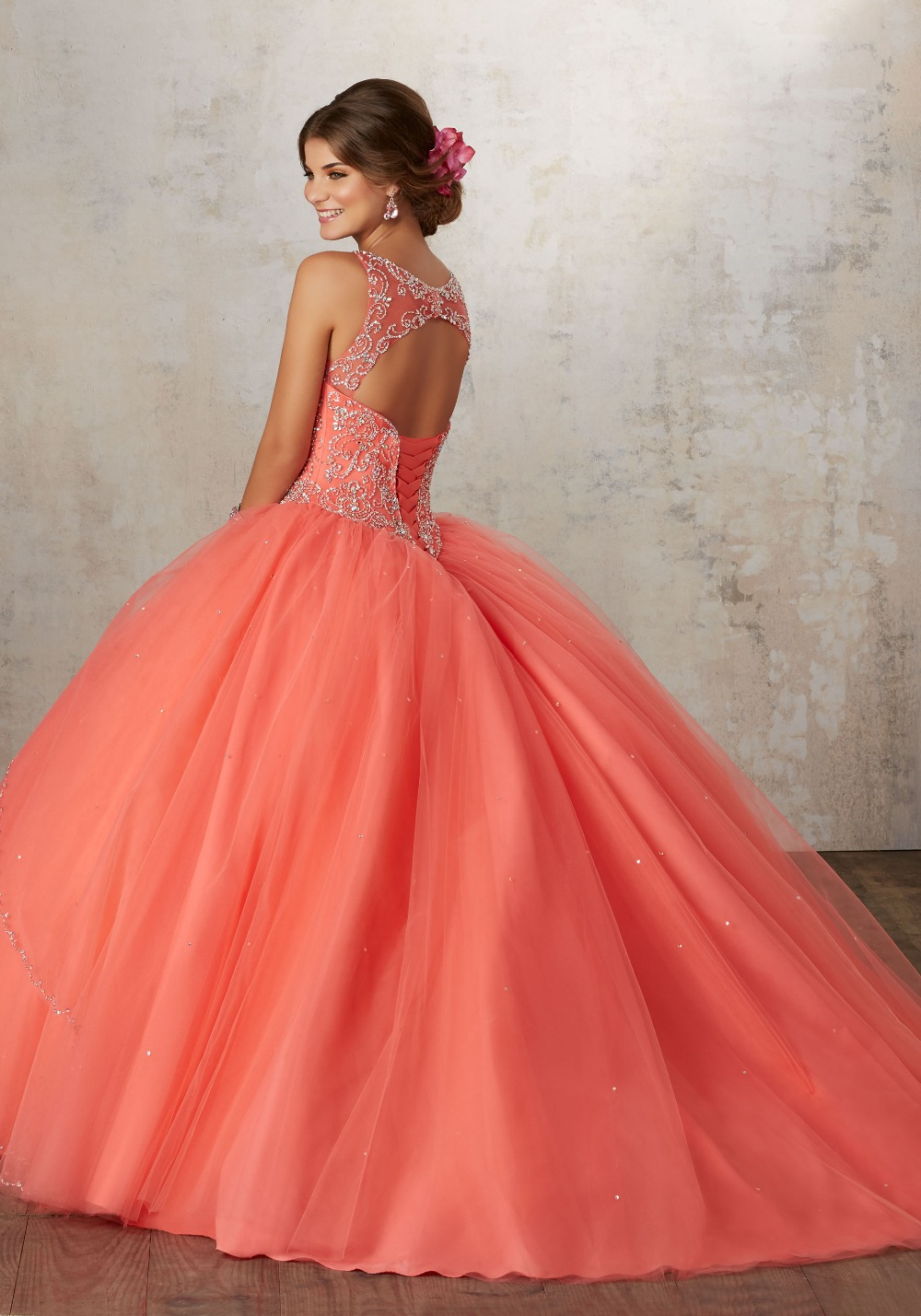 58ce1e3baca Coral Red And Gold Quinceanera Dresses