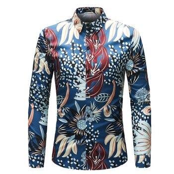 Nouveauté automne hommes chemises décontractées mode impression 3D à manches longues chemises hommes vêtements Floral chemises taille M-4XL
