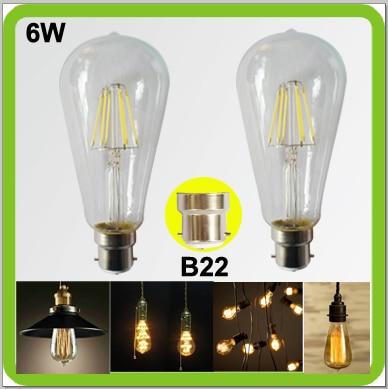 2 PACK Edison retro bulbs 6W LED glass bulbs 650LM ST64 ST19 LED vintage lamps B22 bayonet COB led filament bulb bombilla LED