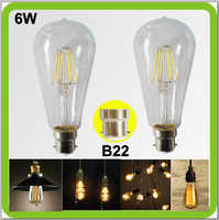 2 PACK Edison retro bulbs 6W LED glass bulbs 650LM ST64 ST19 LED vintage lamps B22 bayonet COB led filament bulb bombilla LED