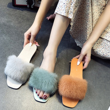 Fashion Summer flip flops Fur Womens Slippers Furry rabbit sex outside Fluffy female beach slides Ladies