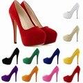 Tacones delgados 14 CM slip-on punta redonda bombas de las mujeres Del Partido/de La Boda Plataforma Bombas Sexy ladies zapatos de tacón de aguja zapatos de las mujeres solteras 817-1