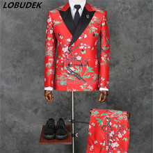 Korean (jacket+pants)male formal suits fashion slim coat trousers sets wedding groom studion shooting stage host show for man