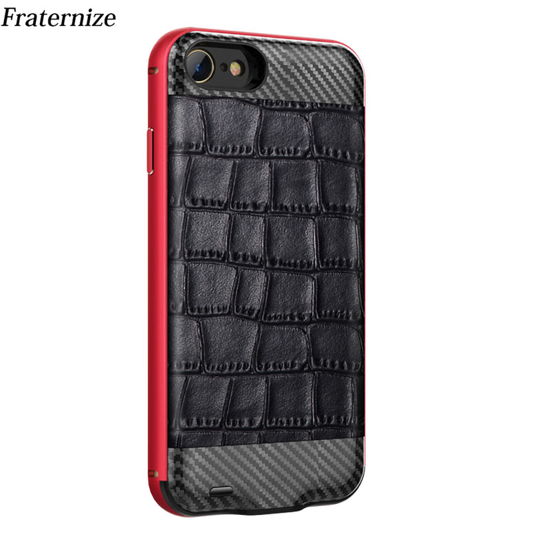 Genuine Leather Slim Battery Charger Case For iPhone 6 6s 7 8 Carbon fiber External Power Bank Charging Cover Aluminum FrameGenuine Leather Slim Battery Charger Case For iPhone 6 6s 7 8 Carbon fiber External Power Bank Charging Cover Aluminum Frame