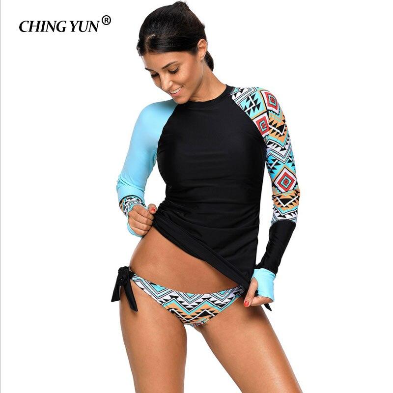 CHING YUN Sexy Épissage Plus La Taille Maillots De Bain Contraste Détail Manches Longues Tankini Maillot de Bain Femmes Maillots de Bain Monokini LC410485