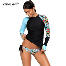 цена на CHING YUN Sexy Splicing Plus Size Swimwear Contrast Detail Long Sleeve Tankini Swimsuit  Women Bathing Suits Monokini LC410485