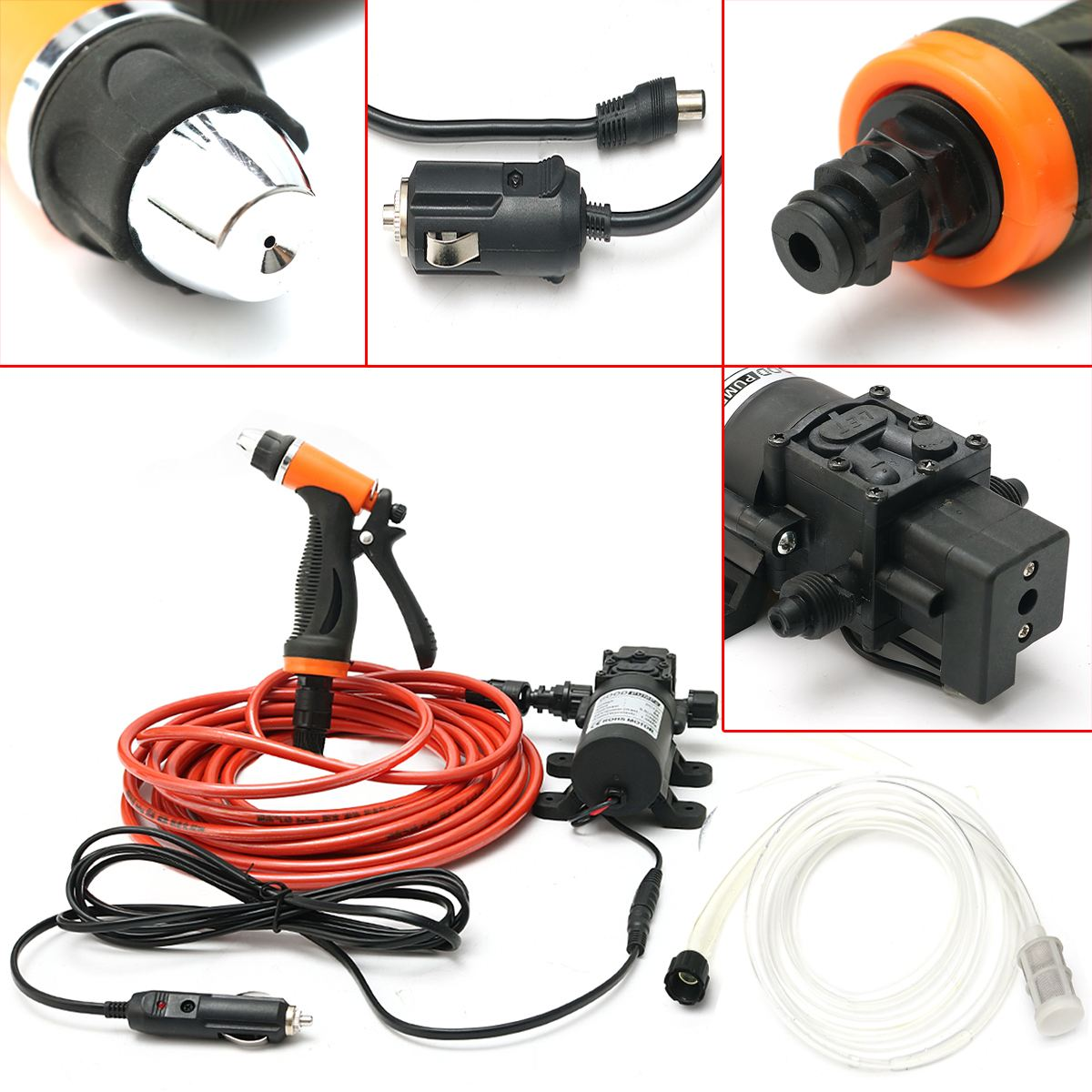 Portable High Pressure 12V 100W 160PSI Car Electric Washer Washing Machine Cigarette Lighter Water Pump Kit portable water pump cigarette lighter high pressure 12v spray gun car cleaner self suction electric car washer