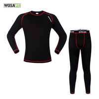 Winter Thermal Fleece Cycling Compression Base Layer Set Bicycle Running Jersey Pants Stretchy Clothing Quick Dry Long Sleeve