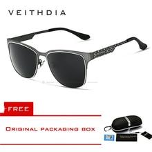 VEITHDIA Mens Sunglasses Stainless Steel Sun Glasses Polarized Coating Mirror Le