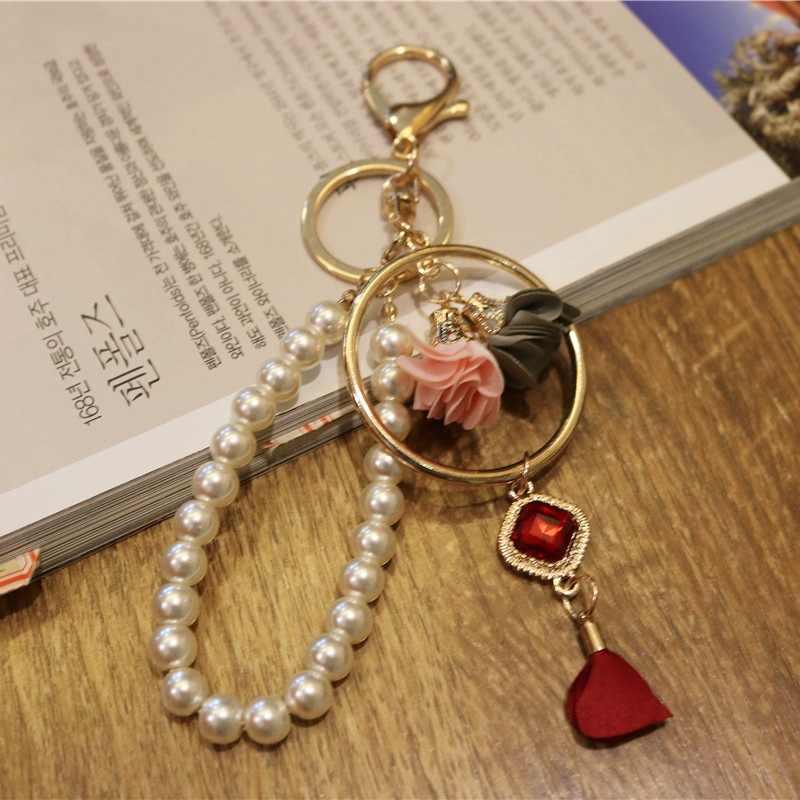 ใหม่ Doreen กล่อง Star Charms เลียนแบบเพิร์ลดอกไม้พวงกุญแจ Keyring ทองสีแหวนกุ้งก้ามกรามรถกระเป๋าจี้