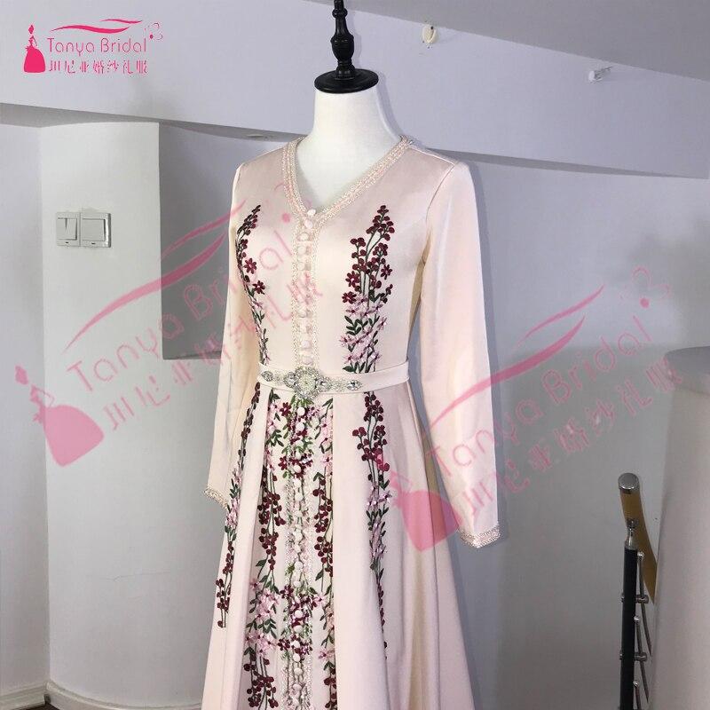 Robe De soirée musulmane élégante caftan marocain 2019 Robe De soirée Dubai dentelle Applique Robe formelle à manches longues femmes Robe De bal - 4