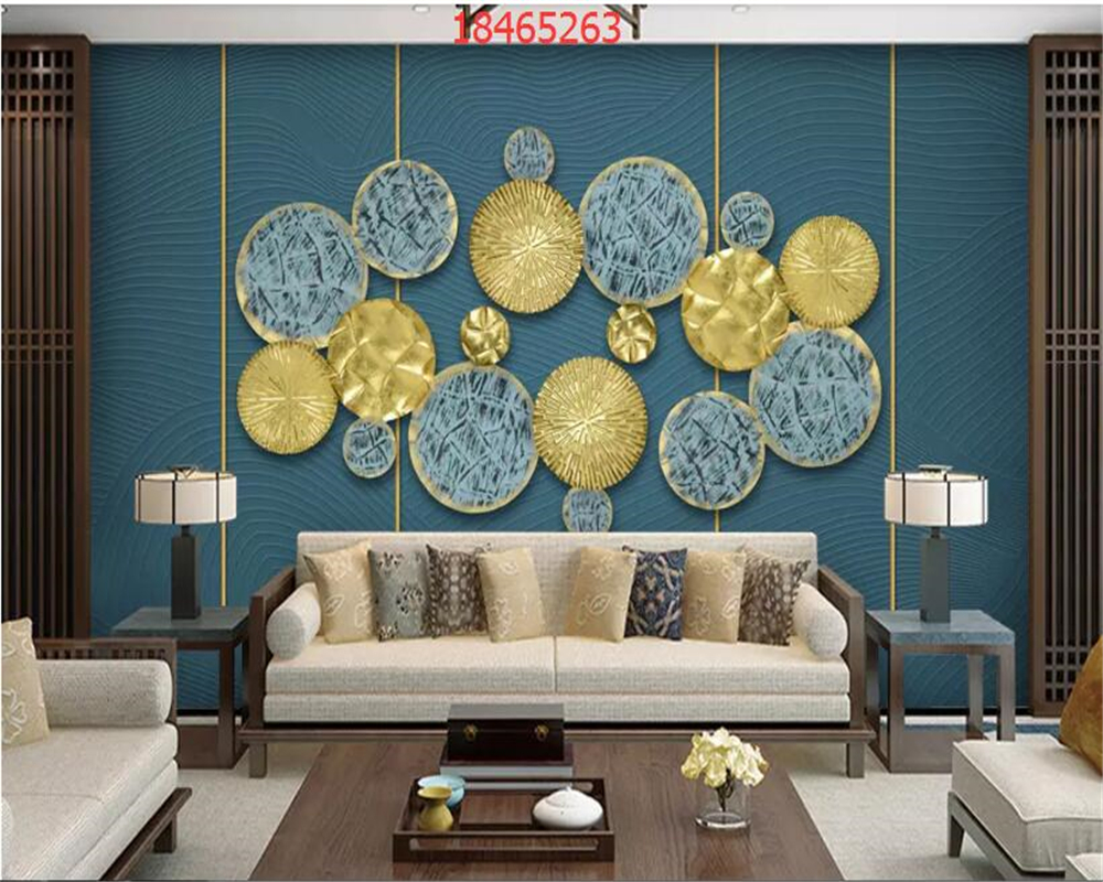 beibehang Custom size 3D stereo Nordic minimalistic round wall decoration gold background wall papel de parede wallpaper in Wallpapers from Home Improvement