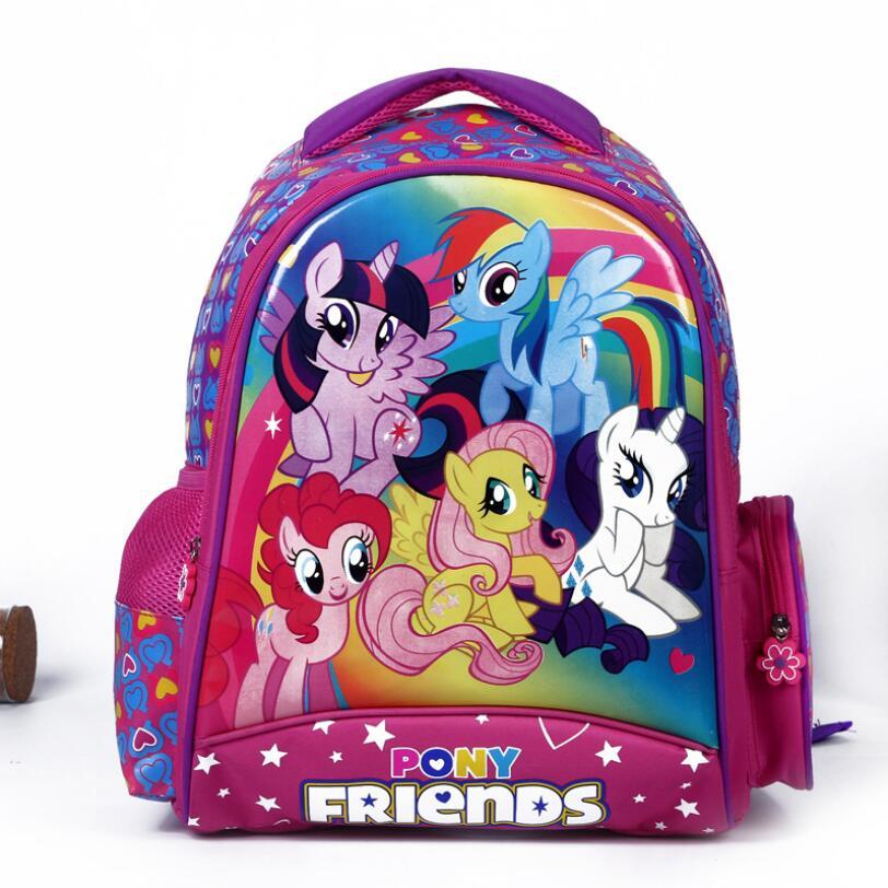 Детские школьные сумки для девочек-подростков милые пони ранцы дети Bookbag 3D мультфильм животных рюкзак Mochila