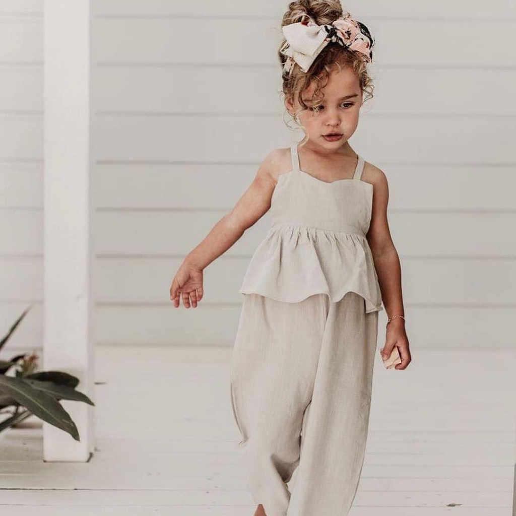 Los niños chico chica ropa de verano ropa de bebé sin mangas sin respaldo volantes de lino lindo Monos Bebé mono mameluco