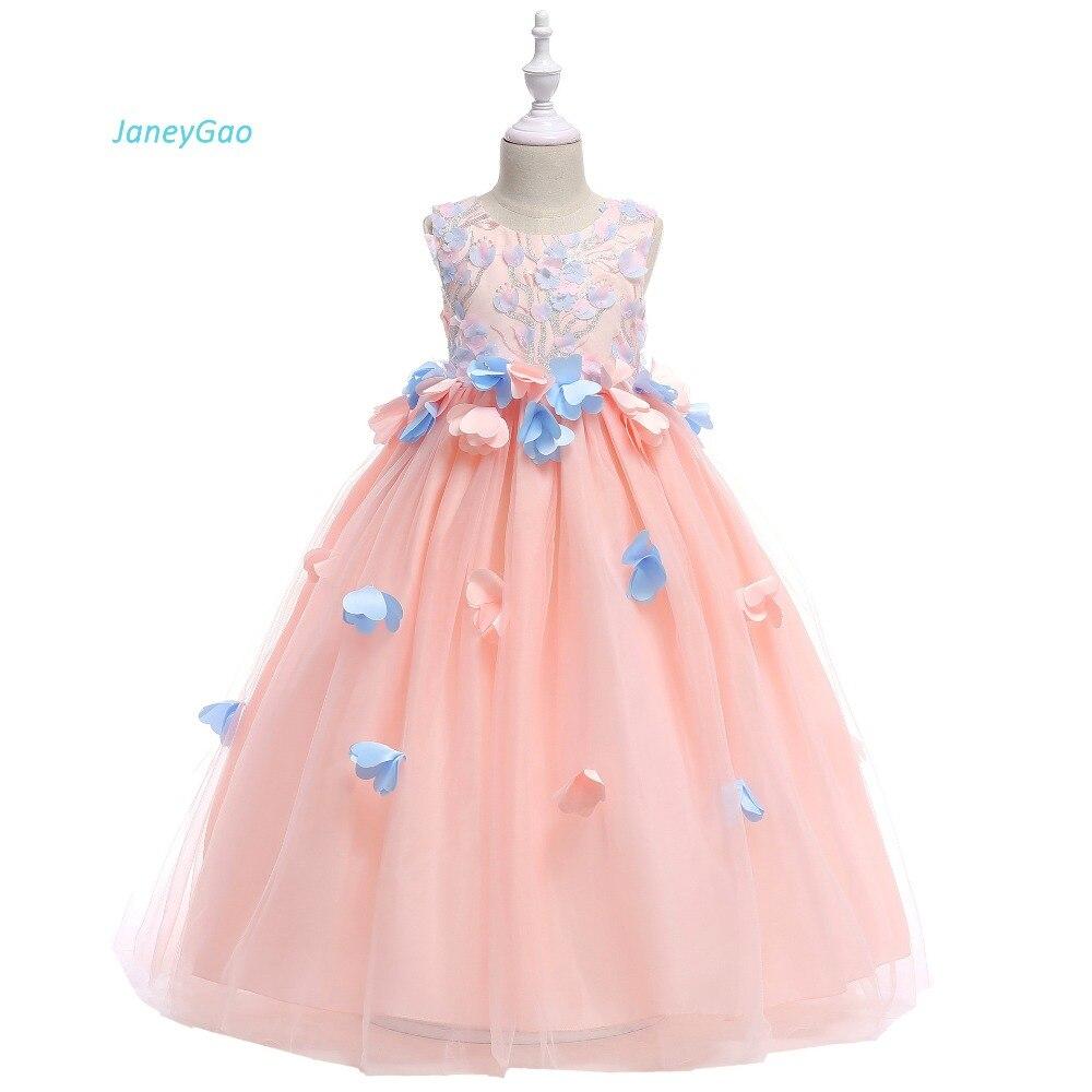 9c10d53143c JaneyGao Платья с цветочным узором для девочек Свадебная вечеринка 2019 длинные  Детские вечернее платье для выпускного