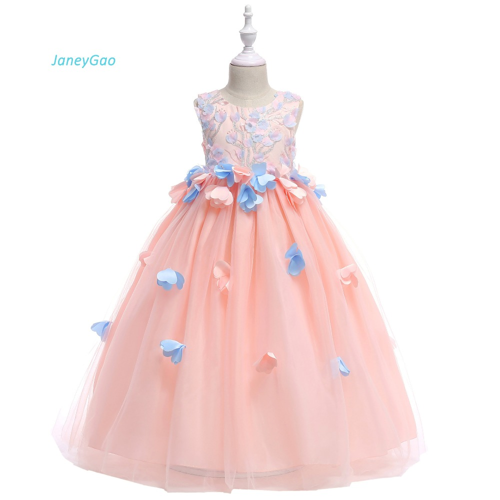 JaneyGao   Flower     Girl     Dresses   For Wedding Party 2019 Long Kids Formal Prom Gown Pageant First Communion   Dresses   Pink In Stock