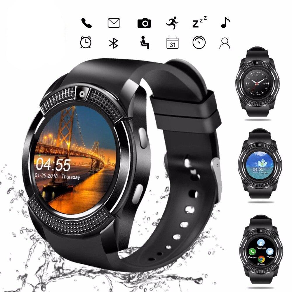 V8 Relógio Das Mulheres Dos Homens Senhoras Relógio Bluetooth Smartwatch Inteligente Com Slot Para Cartão Sim Câmera À Prova D' Água Relógios Esportivos PK DZ09 Y1 a1