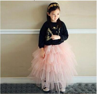 2018 New Girl Long Skirts Cotton Tulle Princess TuTu Skirts Fashion Children Clothes High-quality Goods Girl Party Skirt