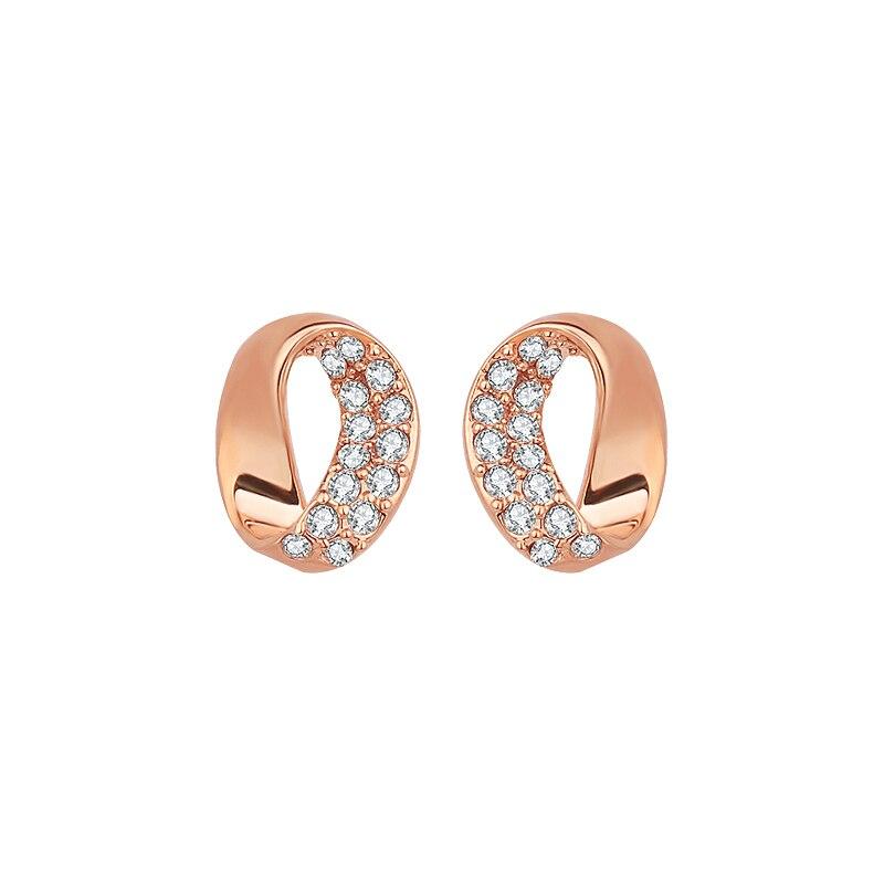 7af031f08881 Nueva alta calidad de la mujer elegante rhinestone grande redondo AAA cubic zirconia  oro blanco de color de lujo Pendientes de broche gle0919