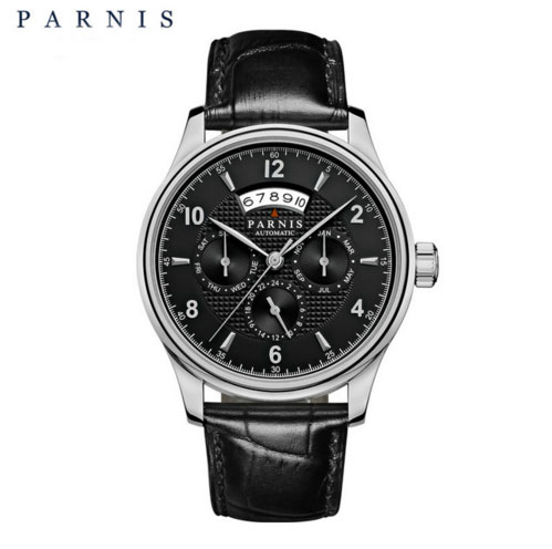 43MM Parnis Sapphire Crystal Mens Watch Month Day Show Miyota mechanical Automatic watch MENs watch crystal