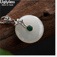 Uglyless Real 925 Sterling Silver Natural Jade Necklaces without Chains Women Button Pendant Fine Jewelry Vintage Ethnic Bijoux