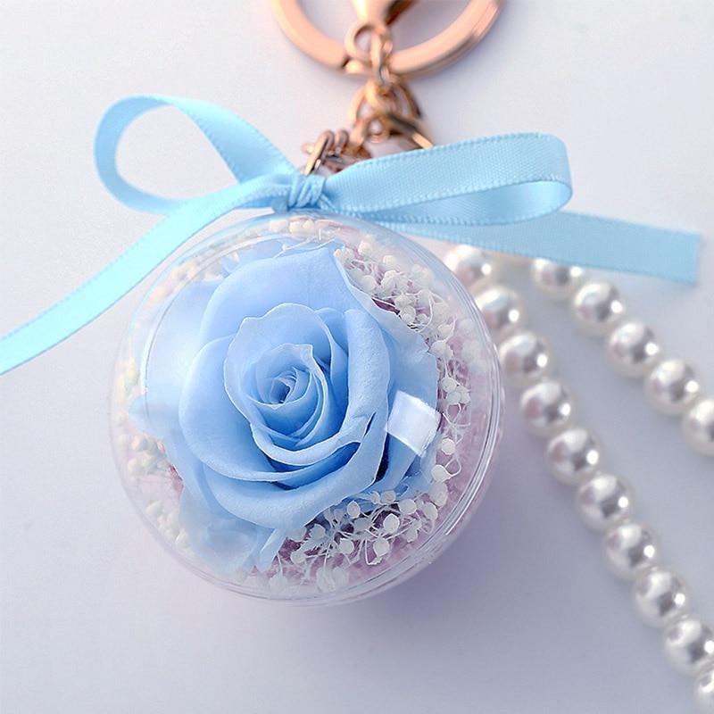 Романтический рождественский подарок для женщин вечные подвески в форме роз украшение автомобиля цветы сушеные цветы Висячие для сумки/брелок - Цвет: 02