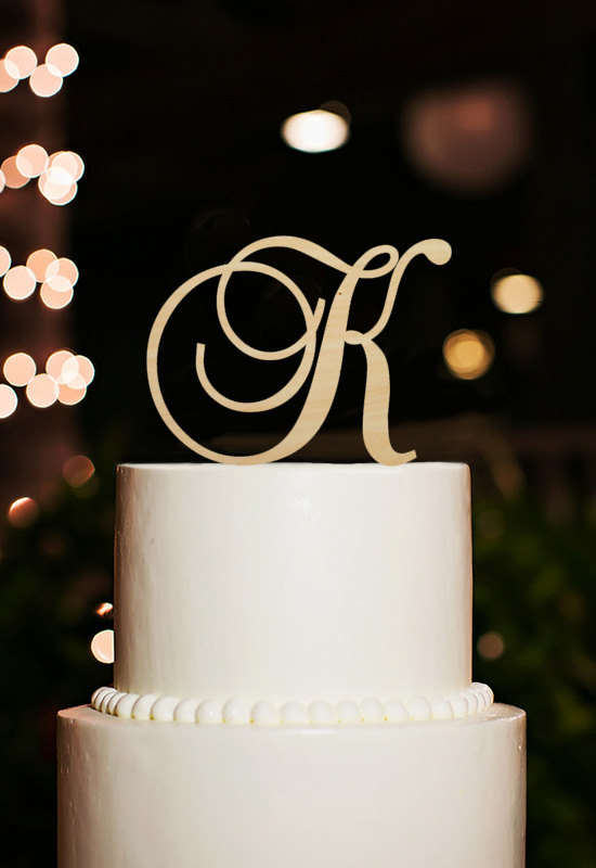 monogram letter k cake topper rustic wedding decoration party gift cake toppers custom initial cake