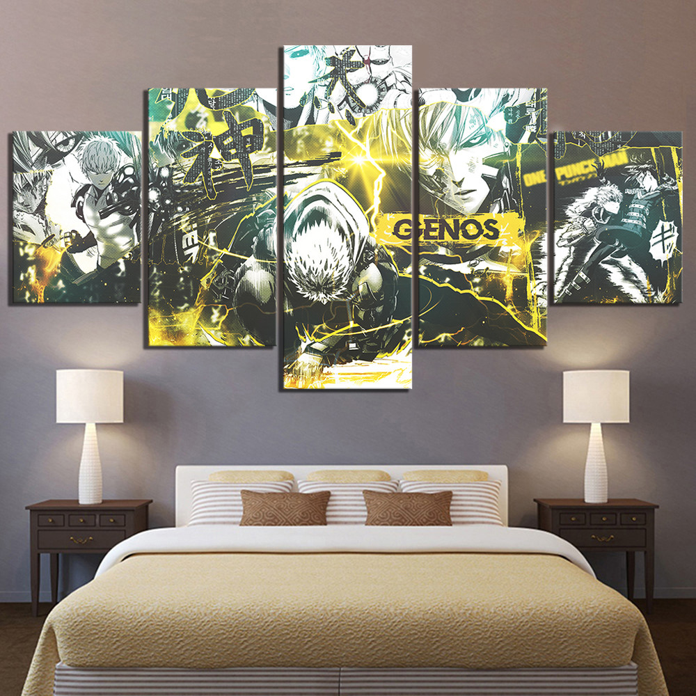 5 Piece HD Cartoon Drawing Art ONE PUNCH MAN Genos Anime Poster Canvas Oil Painting Wall Art for Home Decor 1