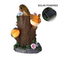 Waterproof Solar Powered Birds Statue Garden Night Light Auto On Decoration Sculpture Home Office Desk Garden Decor Ornament